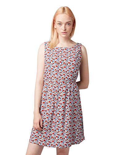 TOM TAILOR DENIM Damen 1008138 Kleid, Elfenbein (Flower Print Off WHI 15551), Medium (Herstellergröße: M)