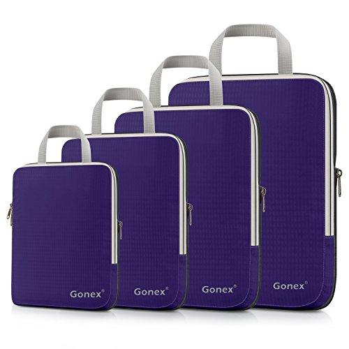 Compression Packing Cubes 3/4er Set, Gonex Kleidertaschen 4-teilig Verpackungswürfel, Kleidertaschen Set, Kofferorganizer Reise Würfel, Lila