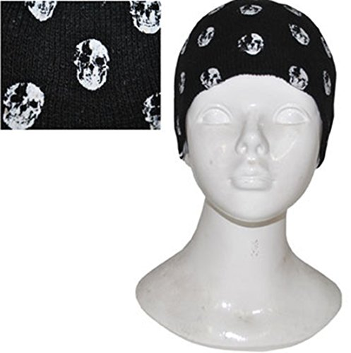 Confettery - Kopftuch Bandana Totenkopf Skelett Tuch Piraten Kostüm, Schwarz