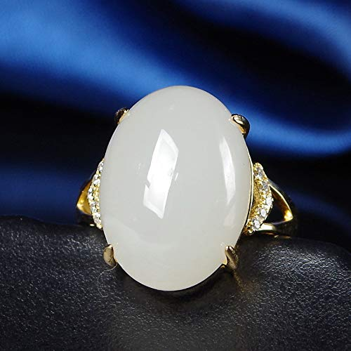 Mayanyan s925 reines Silber Parkett und Hetian Jade Schafe fetten weißen Yu Ring 18 K Gold Mode Dame Geburtstag Geschenk Galvanik