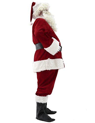 Ahititi Trajes de Papá Noel para Hombres, Conjunto de Disfraces de Navidad de Terciopelo de Lujo para Adultos (10 pcs) M