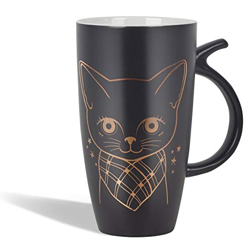 20oz Black Large Ceramic Cute Cat Coffee Mug Tall Animal Mug