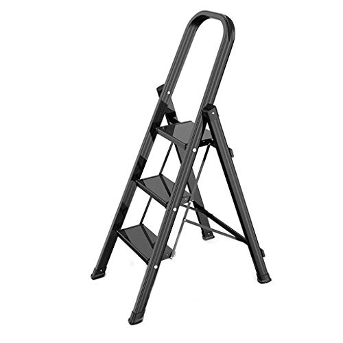 3-Stufen-Leiter aus Aluminium, Heavy Duty Folding Stehleitern, Trittschemel, Mehrzweckküchen Leiter, Anti-Rutsch-Matte, 150kg Belastbarkeit (Color : Schwarz)