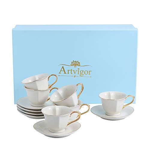 Artvigor, Porzellan Kaffeeservice in Geschenkverpackung, 12-teilig Set Kaffeetassen 150 ml mit Untertassen, Weiß Teeservice