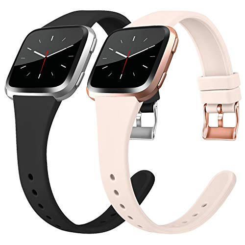 Tobfit Silicone Slim Bands Compatible for Fitbit Versa/Lite/SE, Narrow & Thin Sport Wristbands with Metal Buckle for Women/Men, Black/Sand Pink, Small