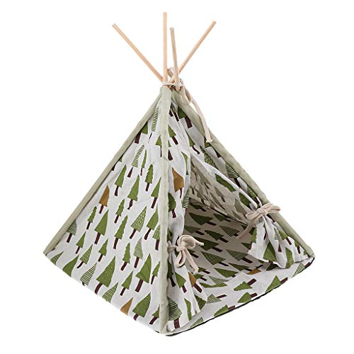 MagiDeal Cute Pattern Dog Teepee Removable Pet Kennel Play House Tent Cat Dog Bed - Indoor Outdoor Tent Bed for Small Animals - 01
