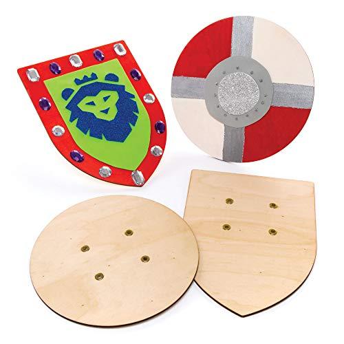 Baker Ross AW654 Holzschild (2 Stück), perfekt für Kinder zum Gestalten und Dekorieren, ideal für Heimwerken, Schularbeiten, Bastelprojekte und mehr, Holzfarben