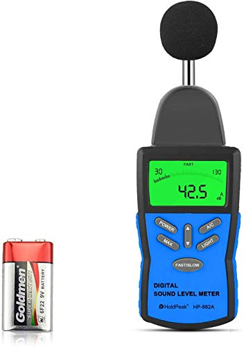 HoldPeak Sonómetro HP-882A, Decibelímetro (30~130 dB) Probador de Medidor de Ruido Monitor de Nivel de Sonidocon Retroiluminación LCD,Retención Máxima, Ajuste de Sensibilidad e Interruptor dBA / C