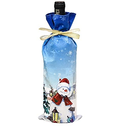 Easyeeasy Bolsa de botella de vino navideña Fiesta de Papá Noel Cubierta de botella de champán Fiesta de año nuevo de Navidad Decoración de mesa de fiesta