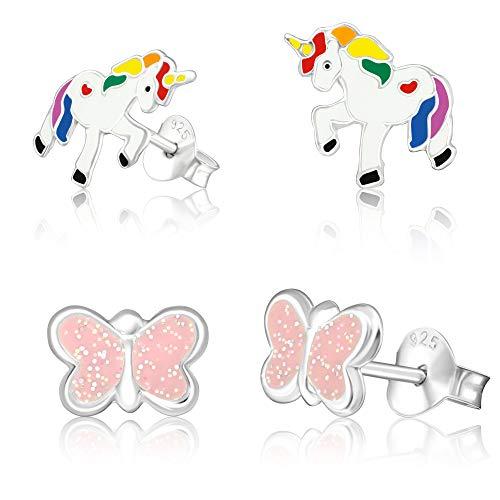 2 Paar Kinder Ohrringe nickelfrei 925 Echt Silber Ohrstecker Einhorn und Schmetterling inklusive hochwertigem Schmucketui und gratis Schmuckpoliertuch