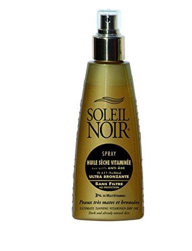 avis huile pour bronzer professionnel Soleil Noir – Spray à l'huile de vitamine sèche avec des ingrédients anti-âge non filtrés – Peau très foncée ou…