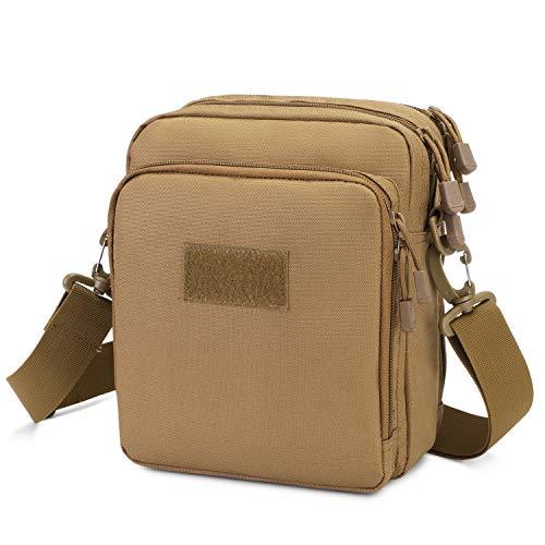 Huntvp Taktische UmhängetascheMilitär Schultertasche Wasserdicht Messenger Bag Molle Zubehör Tasche für Herren Arbeit Business Outdoor, Braun