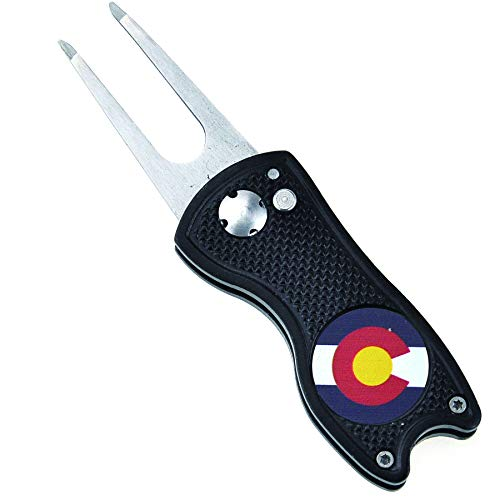 Mile High Life | All Metal Foldable Switch Blade Golf Divot Repair Tool | Pop-up Button | Magnetic Ball Marker | US States Flag Ball Marker (Colorado)