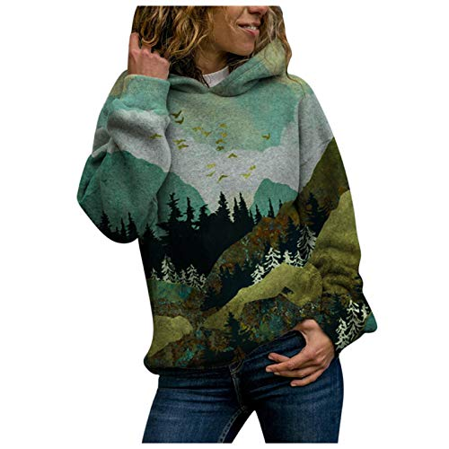 DIOMOR Fashion Womens Hoodies Sweatshirt Mountain Forest Graphic Print Fall Winter Warm Loose Hooded Jumper Pullover Top Green