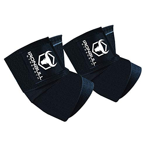 """Iron Bull Strength Elbow Wraps (1 Pair) - 40"""" Elastic Elbow Support & Compression - for Weightlifting, Powerlifting, Fitness, Cross Training & Gym Workout - Elbow Straps for Weight Lifting (Black)"""