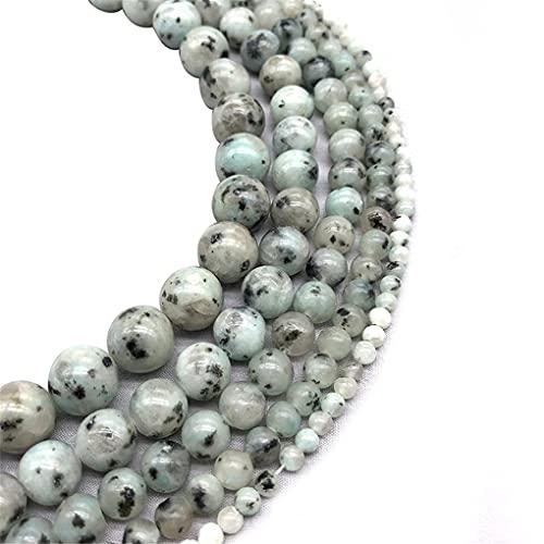 Perlas de piedra natural de punto azul minerales redondos sueltos para hacer joyas DIY pulsera espaciador perlas 4 6 8 10 12 mm 15 pulgadas azul 10 mm aproximadamente 38 cuentas