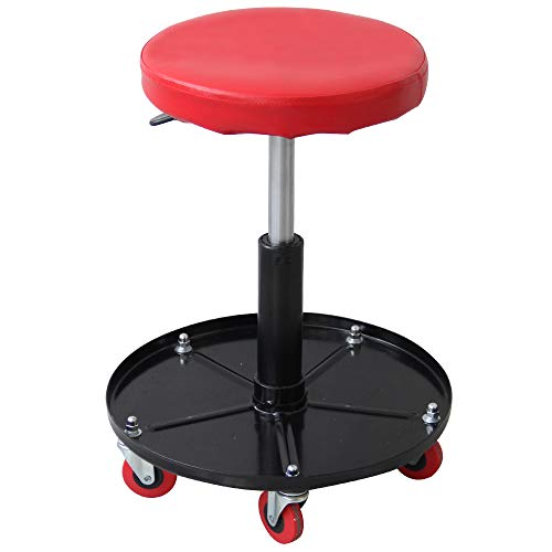 Ruedamann Pneumatic Creeper Garage Adjustable Mechanic Stool with Garage Seat and Shop Stool, Holds up to 300 lb, Red(RDB2001R)
