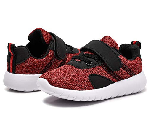 DADAWEN Toddler/Little Kid Boys Girls Casual Lightweight Breathable Strap Sneakers Athletic Running Shoes Wine Red US Size 8 M Toddler