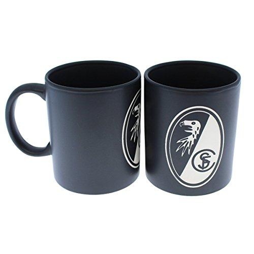 SC Freiburg - Tasse Prägung Kaffeetasse schwarz Logo