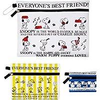 スヌーピーとウッドストックSNOOPY & WOODSTOCK の柄違い大中小の三連巾着袋白・黄色ストライプ・青白ボーダー