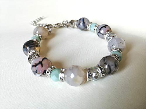 PULSERA azul, azul claro, verde agua, gris - piedras naturales - ágata, purpurina - estilo boho chic - idea de regalo hecha a mano para mujer