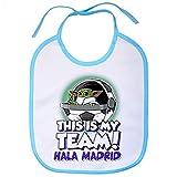 Babero parodia baby Yoda mi equipo de fútbol Madrid - Celeste