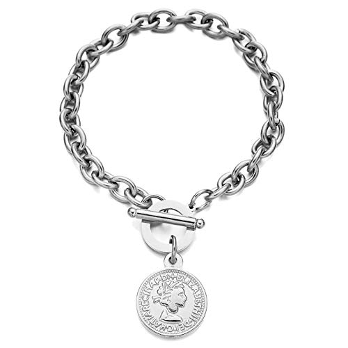 wangk Acero Inoxidable alternar Cabeza de Belleza encantos Pulseras para Mujeres Hombres Hebilla Moneda Colgante Pulsera de vate SilverColor