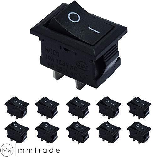 mmtrade | 10 Stück ON/OFF Mini Kippschalter, Wippschalter 21x15mm, Schalter einrastbare mit Selbsthemmung schwarz, 10A/125V, 6A/250V