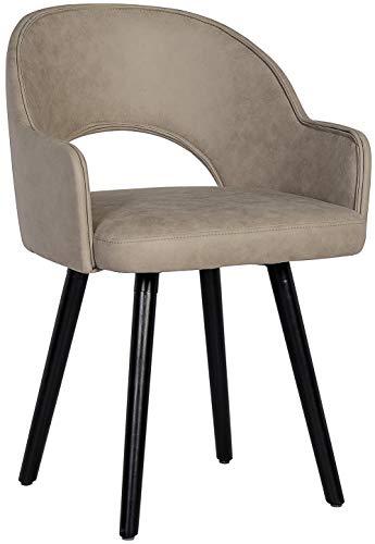 SixBros. 7015X/7690 Esszimmerstuhl aus Kunstleder - Polsterstuhl mit Armlehne – Polstersessel in grau – Stuhl für Esszimmer Wohnzimmer Küche