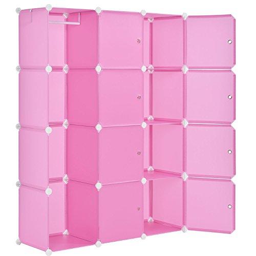 Juskys DIY Regalsystem aus 12 Boxen inkl. Kleiderstange | 8 Fächer mit Tür | 10 kg pro Box | Kunststoff | pink | Schrank Kleiderschrank Schuhschrank