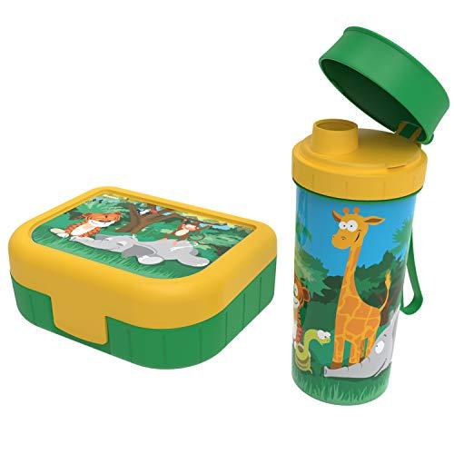 Rotho Memory Kids, Juego de 2 latas Vesper con botella para beber, Plástico PP sin BPA, verde con el motivo jungla, 1l x 0.4l 20.7 x 7.5 x 17.4 cm