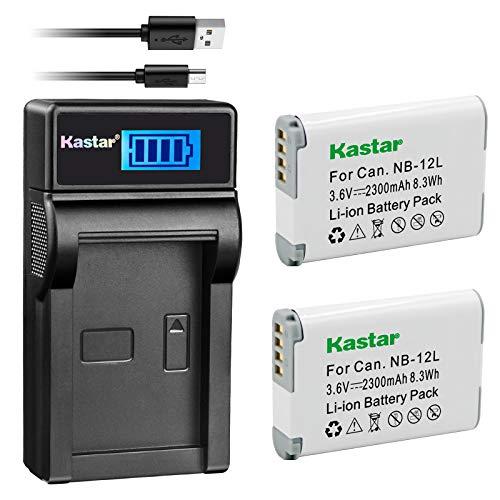 Kastar Battery (X2) & LCD Slim USB Charger for Canon NB-12L, NB12L, CB-2LG and Canon PowerShot G1 X Mark II, Canon PowerShot N100, Canon VIXIA Mini X, LEGRIA Mini X Digital Camera