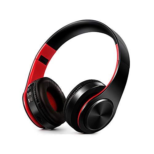 HiFi Écouteurs stéréo Bluetooth casque Musique casque FM et support carte SD avec micro pour téléphone Xiaomi iPhone Sumsamg Tablette noir/rouge