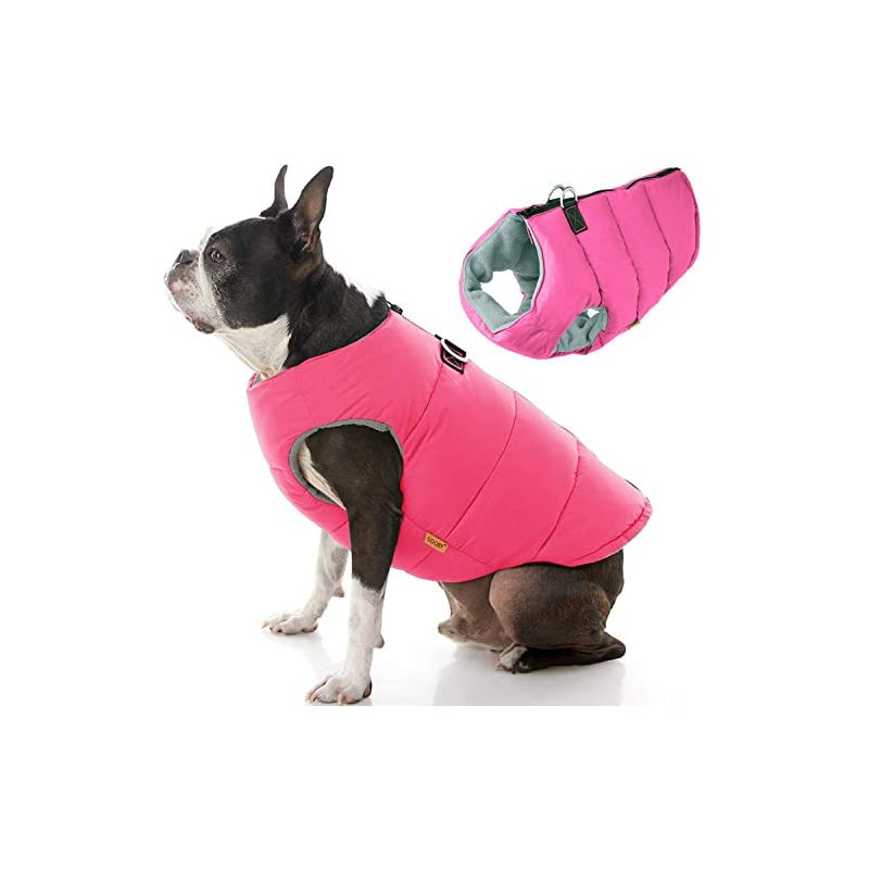 dog supplies online gooby padded dog vest - solid pink, large - zip up dog jacket coat with d ring leash - small dog sweater with zipper closure - dog clothes for small dogs girl or boy for indoor and outdoor use