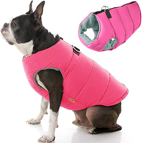 Gooby Padded Dog Vest - Solid Pink, Small - Zip Up Dog Jacket Coat with D Ring Leash - Small Dog Sweater with Zipper Closure - Dog Clothes for Small Dogs Girl or Boy for Indoor and Outdoor Use