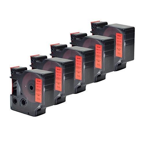 "5PK Standard D1 Tape Cassette Replace 45807 Black on Red Label Cassette Compatible for LabelManager 350D 400 500TS(3/4""W x 23'L)"