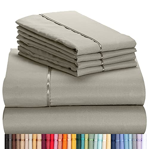"""LuxClub 6 PC Sheet Set Bamboo Sheets Deep Pockets 18"""" Eco Friendly Wrinkle Free Sheets Machine Washable Hotel Bedding Silky Soft - Light Taupe Queen"""