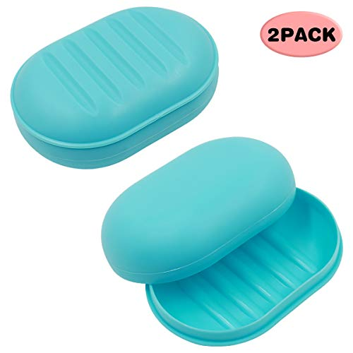 Healifty Travel Soap Dish Waterproof Soap Dish Holder Lightweight Soap Case Container with Lid for Travel Bathroom Wash Shower Green