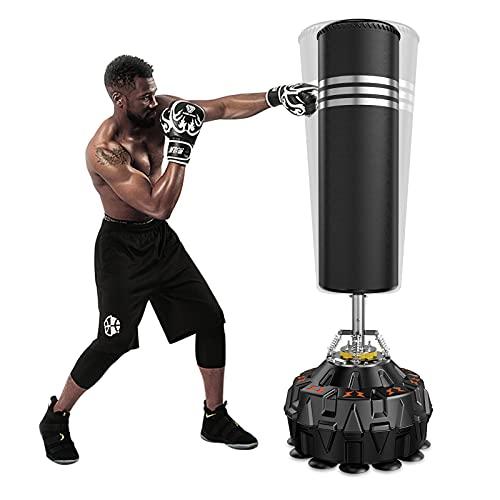 Dripex Saco de Boxeo de Pie para Adultos, Compañero de Boxeo de MMA, Entrenador de Boxeo, Resistente, con Base de Succión, Rellenable de Arena 80kg /Agua 60kg Aprox…