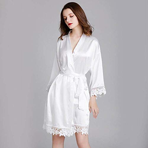 YUHOOE Kimono Albornoz para Mujer,Kimono De Satén Suave Sexy Bride Dama De Honor Bata De Encaje Escote En V Color Puro Albornoz Corto,Pijamas Camisón Ropa De Dormir para Bodas,Blanco,Talla Única