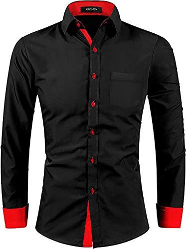 Kuson Herren Hemd Bügelleicht aus Baumwolle Kentkragen Hemden Slim Fit Anzug mit Kontrasten Rot M