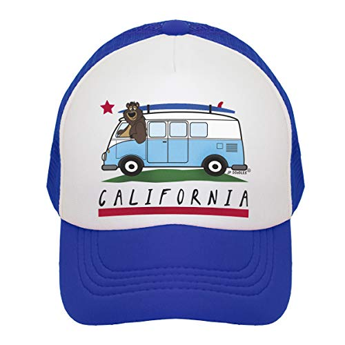 JP DOoDLES California Surfer Bear Bus Hat Kids Trucker Hat. Baseball Mesh Back Cap fits Baby, Toddler and Youth. (Royal Blue, Mini (12-24 MOS))