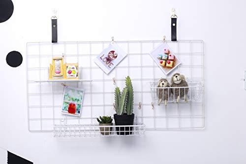 WUZILIN Upgrade Wandgitter Regal,DIY Eisen Gitter der Fotowand Dekoration Pinnwand Foto an der Memoboard Hängen in der Familie, Küche, Büro und so weiter (40 * 80cm) Weiß