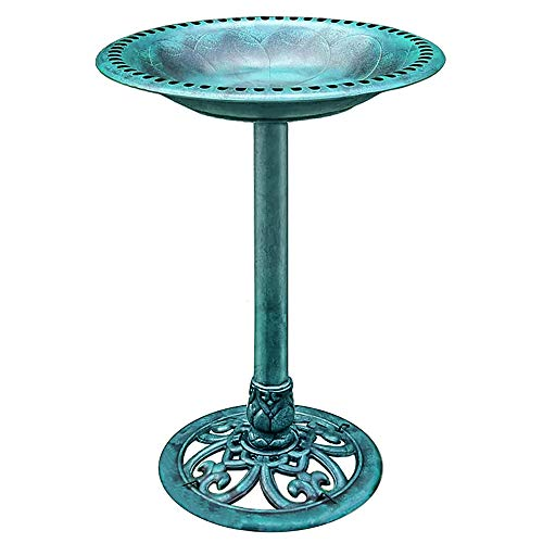 VIVOHOME 28 Inch Height Polyresin Lightweight Antique Outdoor Garden Bird Bath Green