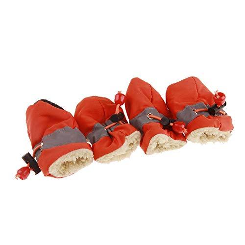AIRLUCKY 4 Stks Schoeisel Dikke Hond Sokken Waterdichte Anti-slip Winter Warm Regenlaarzen Puppy Sneakers Beschermende Huisdier Schoenen Huisdier Sup, 6, ORANJE