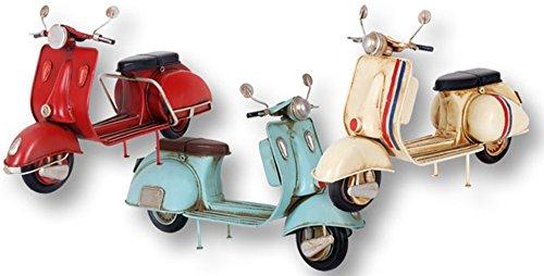 Figura Metal Motocicleta RETRO VINTAGE estilo Vespa. 3 modelos: Rojo, Azul claro y Beige. Dakota. 1 unidad.