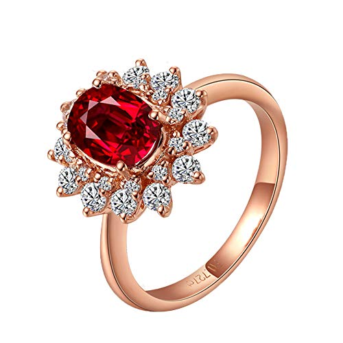 YCGEMS Joyería única para Mujer Sólido 18 Quilates de Oro Rosa Natural Rubí Diamante Compromiso Compromiso Conjunto de Anillos de Boda,J