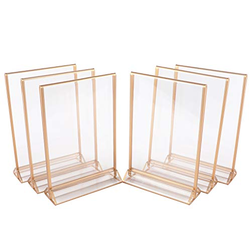 Houseables Clear Picture Frames 5 x 7, Gold Plastic Frame, 6 Pk, Table Tent Holder, Mr & Mrs Sign for Wedding Table, Centerpiece Photo Holders, Front Back Sign, Acrylic, Center Stand, Multipack, Event
