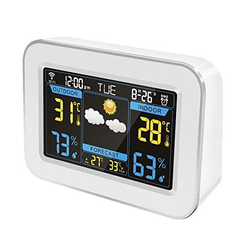 XF-B Estación Meteorológica WiFi Estación Meteorológica Inalámbrica Termómetro Higrómetro Pronóstico del Tiempo Reloj Pantalla LCD En Color Pantalla Control De La APLICACIÓN (Color : White)