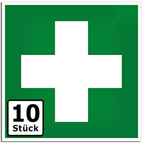KAVARO Erste Hilfe Aufkleber Schild erste Hilfe Kasten Verbandskasten (10 Stück)